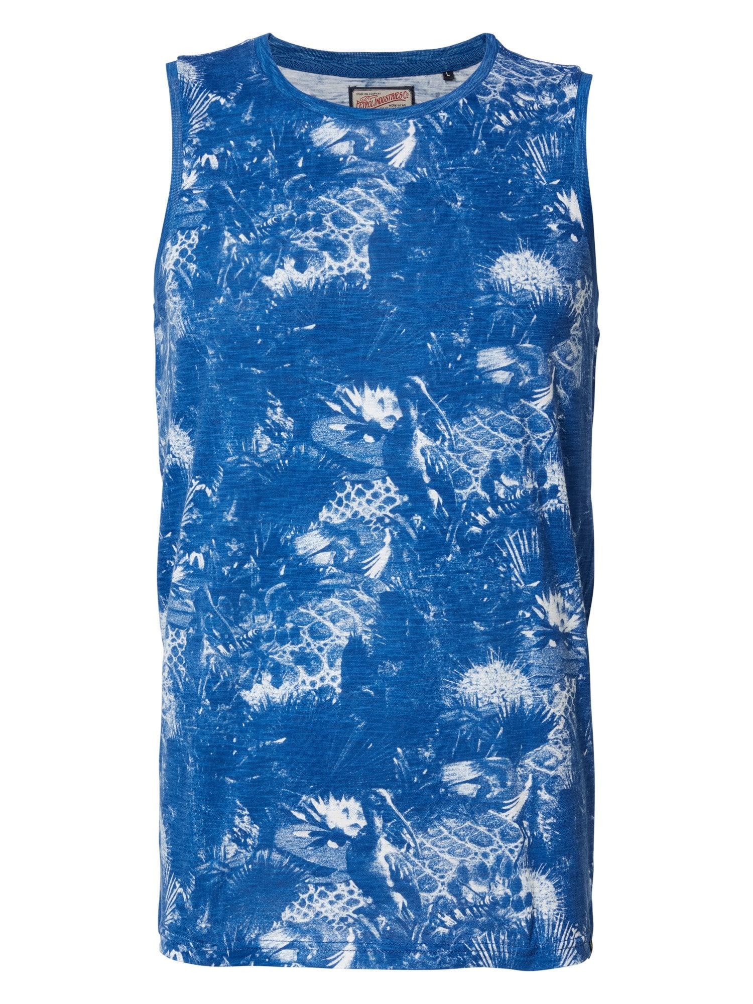 Petrol Singlet Blauw Print